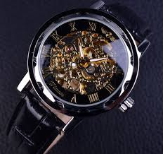 watches for men winner black golden skeleton watches men luxury brand mechanical