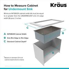 kitchen sink size for 24 inch cabinet kraus pax all in one undermount stainless steel 24 in