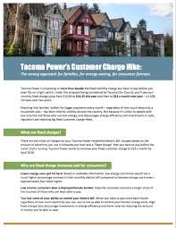 how much is a light bill oppose tacoma power s request to double its customer service charge
