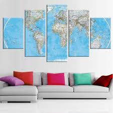 aliexpress com buy 5 pieces canvas wall art world map oil