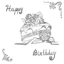 birthday cake in sketch style stock vector image 82691682