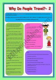 Why do people travel 2 esl worksheet by elenagrig