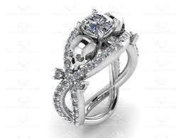 skull engagement rings marseille 1 60ct white diamond white gold skull bridal set