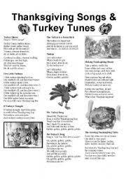 worksheets thanksgiving song worksheets