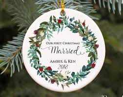 personalized ornaments wedding christmas ornament etsy