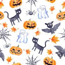 halloween seamless pattern pumpkin bat ghost black cat watercolor