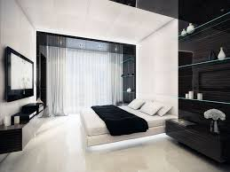 gleaming black and white bedroom design for couple with big lcd tv