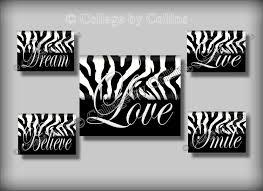 zebra print black white wall art teen room decor smile