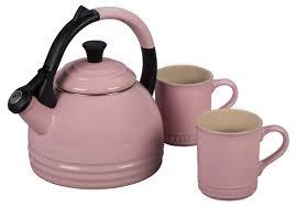 le creuset enamel on steel 3 piece 1 7 qt peruh tea kettle u0026 mug