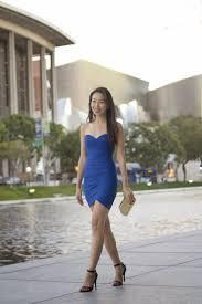 connnietang royal blue sweetheart dress