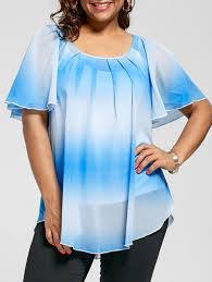 ombre blouse 2018 plus size ombre blouse with camisole blue xl in plus size