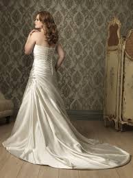 plus size wedding dress designers a line princess one shoulder ivory satin ruched plus size designer