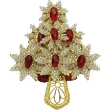 stanley hagler christmas tree brooch red crystal seed pearl glass