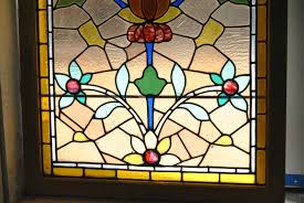 antique stained glass transom window vintage stained glass window with floral pattern u2013 light smokey