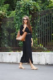 6 black slit dress with gladiator sandals 2017 street style