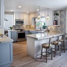 Dura Supreme Crestwood Cabinets Colorful Kitchen Design Remodel With Colorful Blue And White Tile