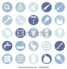 Vector Set Black Doodle Home Repairing Stock Vector - Home construction and decoration