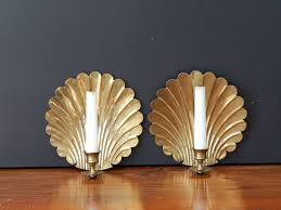 Candle Sconce Just Added To The Shop Vintage Brass Shell Candle Sconces Brass