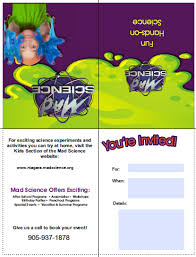 party invitations mad science of toronto