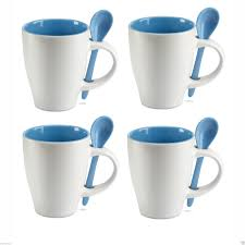 set of 4 250ml bicolour ceramic coffee mugs with colour matching