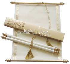 wedding scroll invitations s865 gold color shimmery finish paper scroll invitations