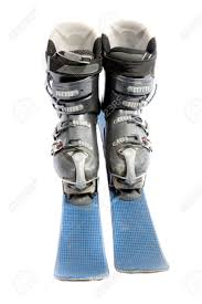 ski boots and blades isolated on a white background stock photo