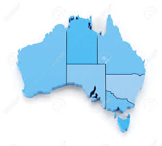 extruded map of australia with state borders 3d render stock