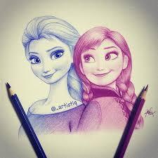 artistiq elsa anna drawings