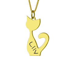 Jewelry With Names Wholesale Personalized Cat Necklace Gold Color Cat Memorial
