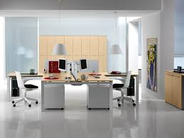 white nuance modern offices floor plans with white cabinet beside