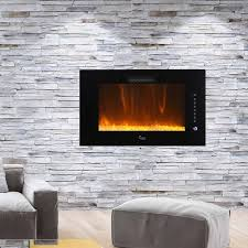 Wall Mounted Electric Fireplace with Brayden Studio Brentwood Linear Multicolor Flame Wall Mount