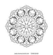 vector ornamental contour mandala frame stock vector