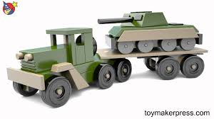 Wooden Toys Plans Free Trucks by Wood Toy Plans Desert Storm War Tank And Truck Youtube