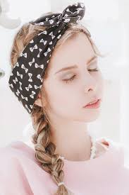 headband with bow bow wire headband dolly bow pin up rockabilly hair wrap