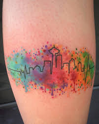 color splattered seattle skyline seattletattoo watercolortattoo