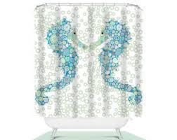 beach decor seahorse shower curtain sea bathroom decor