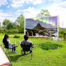Backyard Movie Theatre by Jaeilplm 100 Inch Wrinkle Free Portable Outdoor Projection Screen