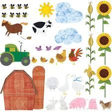 farm mural sticker decal kit for baby room free personalization farm wall decals peel stick farm theme wall mural sticker kit mini set