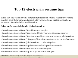 Electrician Resume Sample by Top12electricianresumetips 150404155615 Conversion Gate01 Thumbnail 4 Jpg Cb U003d1428181028