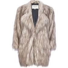 river island silver long pile faux fur coat in brown lyst