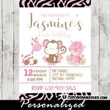 animal print pink safari birthday invitation personalized
