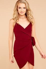 chic party dress burgundy short dress wrap cocktail dress 36