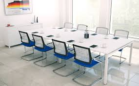 Modern White Office Table Conference Room Interior Ideas With U Shape White Wooden Table And