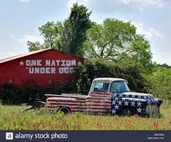 american flag truck american flag painted car in rural arkansas stock photo royalty