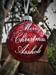 merry christmas asshle glitter glass ornament gift office