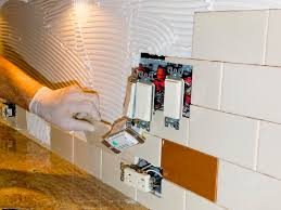 How To Install Kitchen Backsplash Ceramic Tile Installation On Kitchen Backsplash 10 Stock Image
