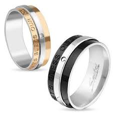 arcadia wedding band stainless steel let s bless our engraved two tone men s