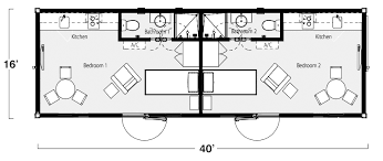 Storage Container Homes Floor Plans Two Bedroom Two Bath Shipping Container Home Floor Plan