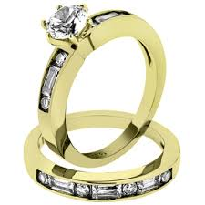 14k gold wedding ring sets artk1895 stainless steel 2 50 ct princess cut zirconia 14k gold