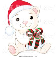 vector clip art of a cute adorable baby polar bear wearing a santa